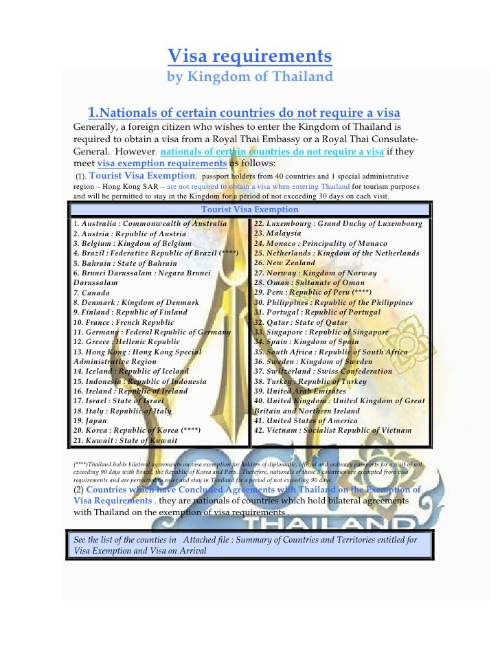 Visa requirements                                     by Kingdom of Thailand       1.Nationals of certain countries do not...
