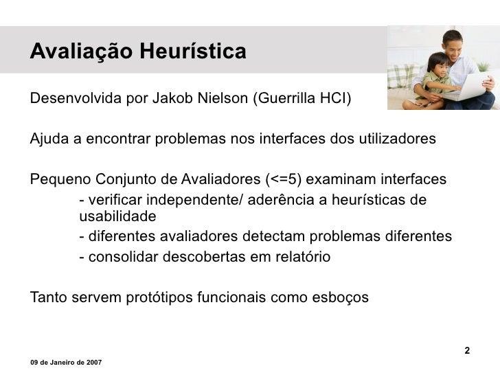 AVALIAÇÃO HEURÍSTICA Slide 2