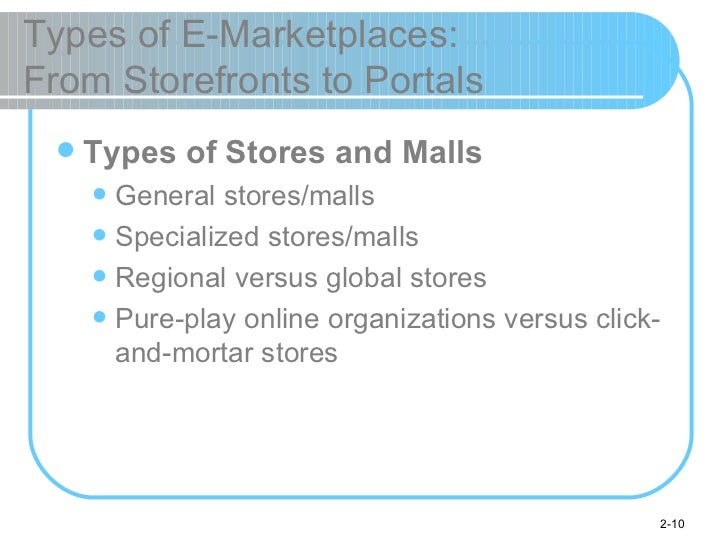 Types of E-Marketplaces:  From Storefronts to Portals <ul><li>Types of Stores and Malls </li></ul><ul><ul><li>General stor...