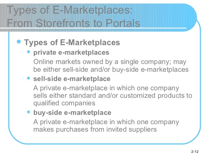 Types of E-Marketplaces:  From Storefronts to Portals <ul><li>Types of E-Marketplaces </li></ul><ul><ul><li>private e-mark...