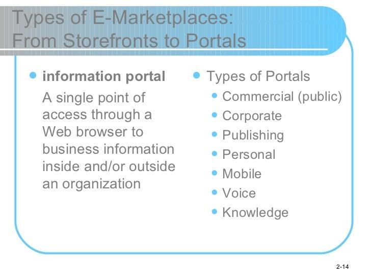 Types of E-Marketplaces:  From Storefronts to Portals <ul><li>information portal </li></ul><ul><li>A single point of acces...