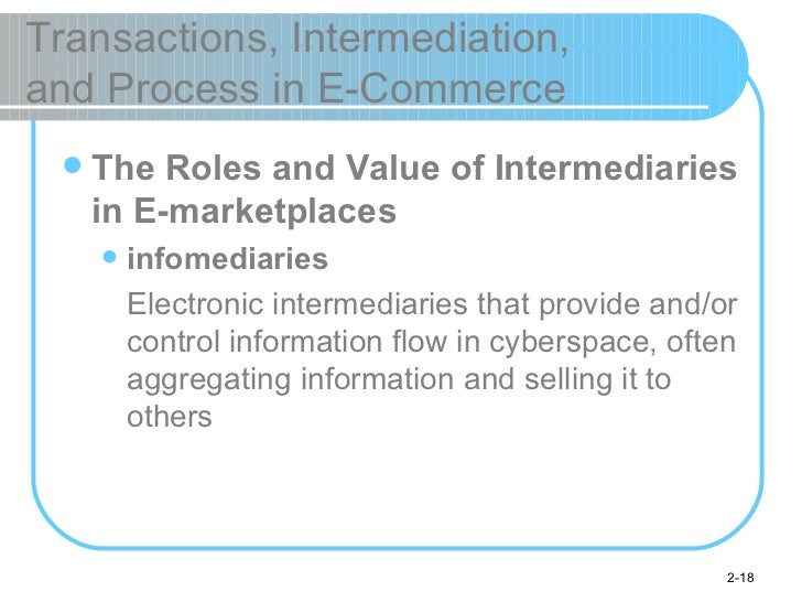 Transactions, Intermediation,  and Process in E-Commerce <ul><li>The Roles and Value of Intermediaries in E-marketplaces <...