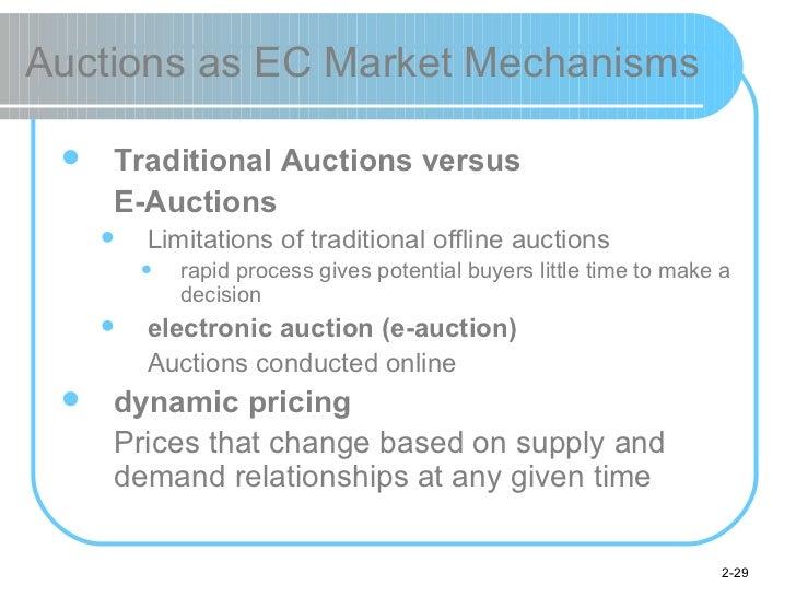 Auctions as EC Market Mechanisms <ul><li>Traditional Auctions versus  </li></ul><ul><li>E-Auctions </li></ul><ul><ul><li>L...