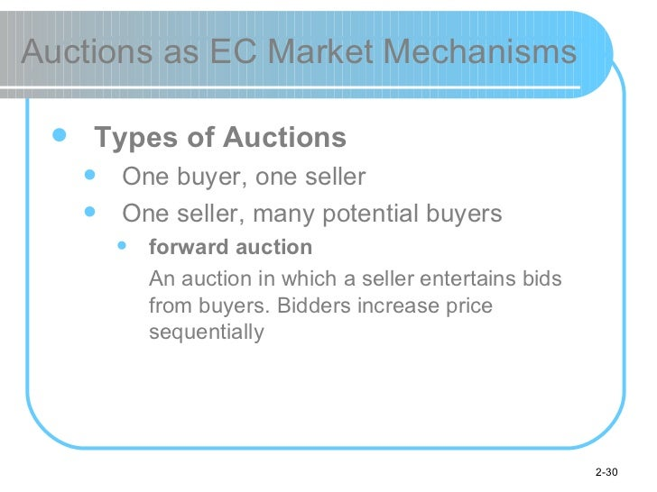 Auctions as EC Market Mechanisms <ul><li>Types of Auctions </li></ul><ul><ul><li>One buyer, one seller </li></ul></ul><ul>...