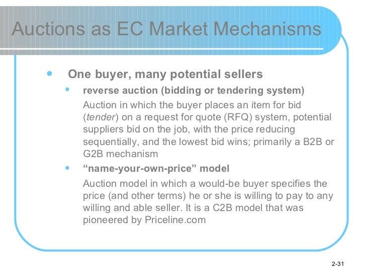 Auctions as EC Market Mechanisms <ul><ul><li>One buyer, many potential sellers </li></ul></ul><ul><ul><ul><li>reverse auct...