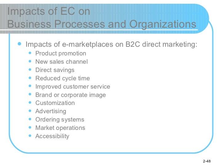 Impacts of EC on  Business Processes and Organizations <ul><li>Impacts of e-marketplaces on B2C direct marketing: </li></u...