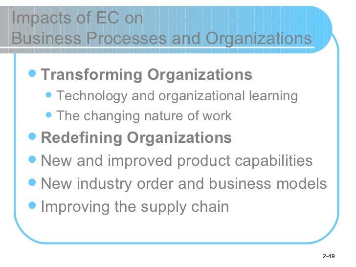 Impacts of EC on  Business Processes and Organizations <ul><li>Transforming Organizations </li></ul><ul><ul><li>Technology...