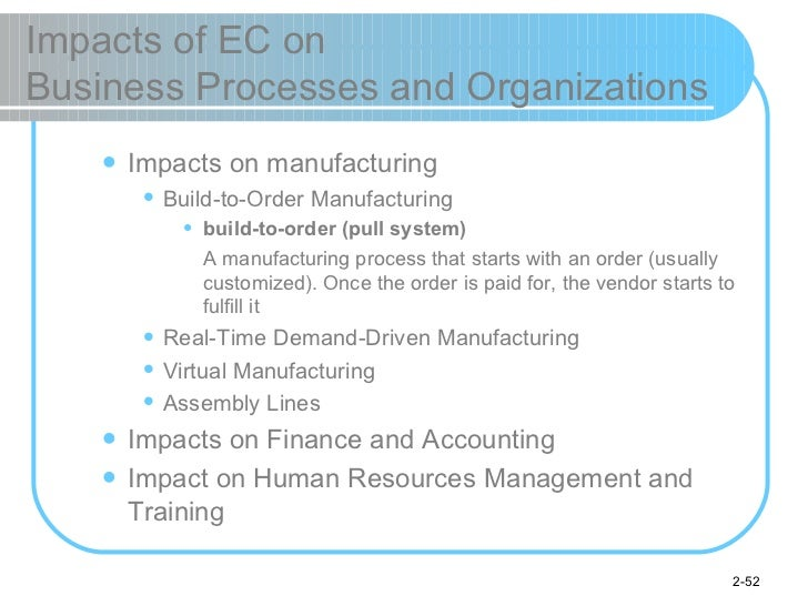 Impacts of EC on  Business Processes and Organizations <ul><ul><li>Impacts on manufacturing </li></ul></ul><ul><ul><ul><li...