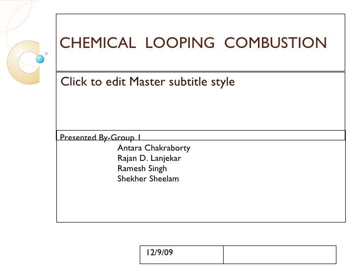 CHEMICAL  LOOPING  COMBUSTION Presented By-Group 1 Antara Chakraborty Rajan D. Lanjekar Ramesh Singh Shekher Sheelam