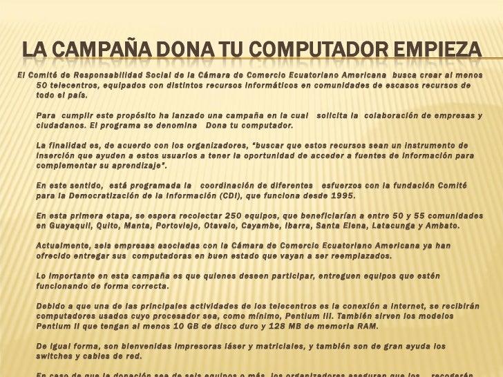 <ul><li>El Comité de Responsabilidad Social de la Cámara de Comercio Ecuatoriano Americana busca crear al menos 50 telece...