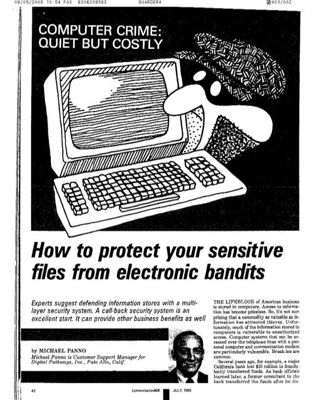 08/05/2008 10254 FAX 8306209583 GUHRDERP.  001/002                           .1'    COMPUTER CRIME:  QUIET BUT cosnv  How ...