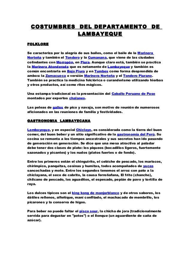 COSTUMBRES DEL DEPARTAMENTO DE LAMBAYEQUE FOLKLORE Se caracteriza por la  alegría de sus bailes b611479f2e2