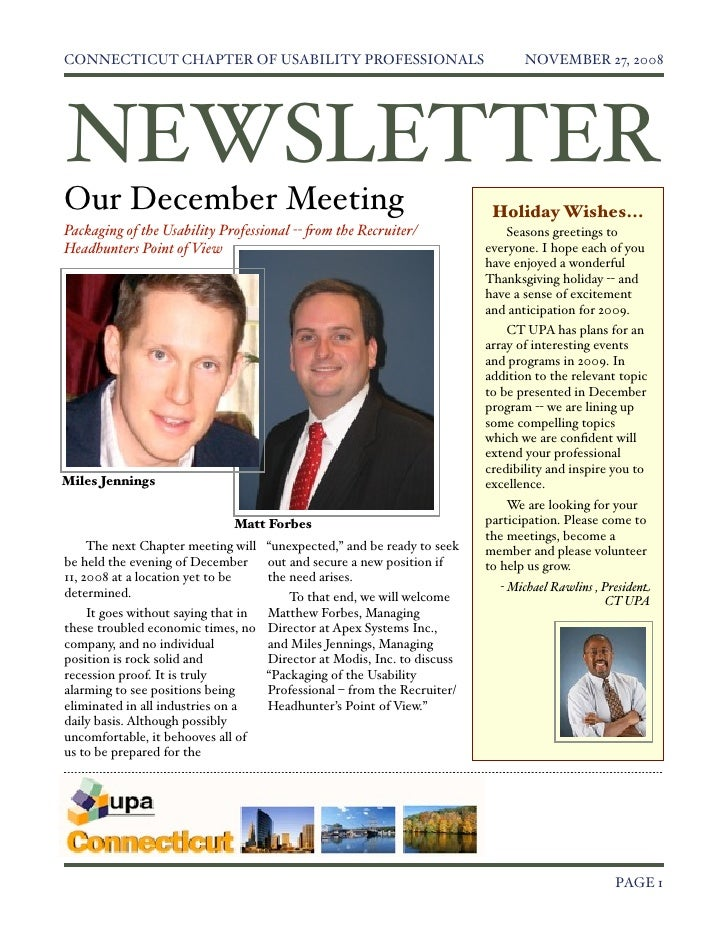 CONNECTICUT CHAPTER OF USABILITY PROFESSIONALS                                  NOVEMBER 27, 2008     NEWSLETTER Our Decem...