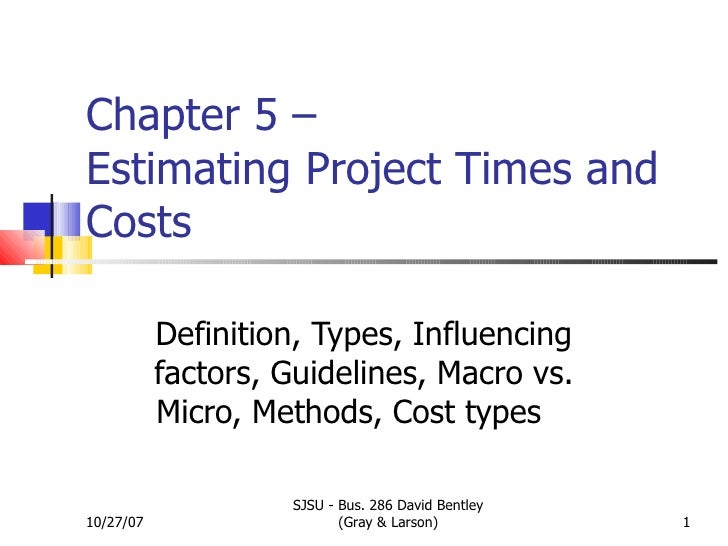 Chapter 5 –  Estimating Project Times and Costs Definition, Types, Influencing factors, Guidelines, Macro vs. Micro, Metho...