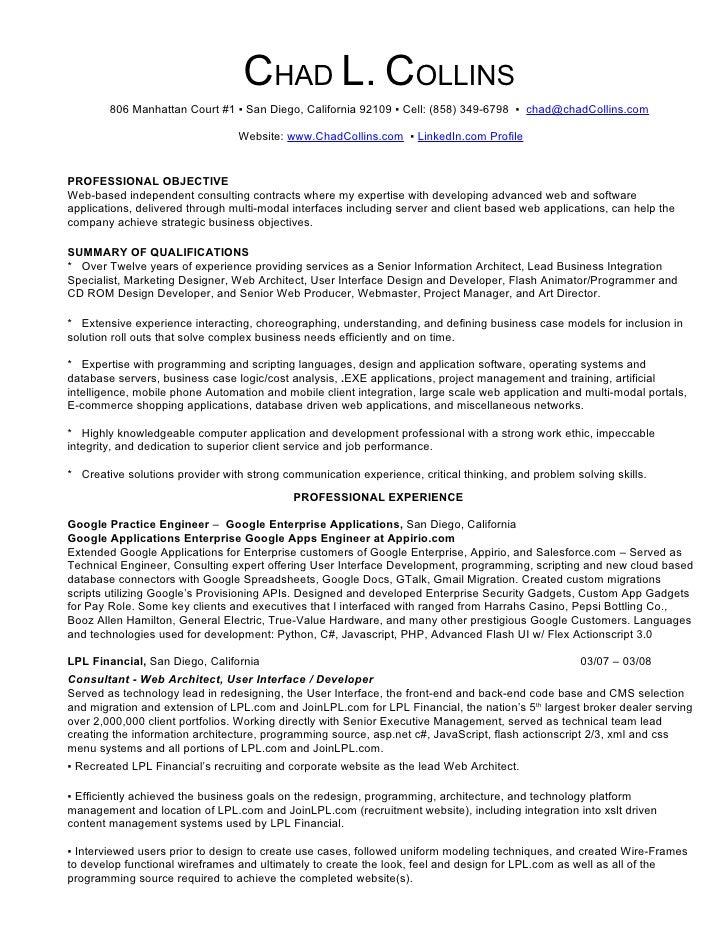 CHAD L. COLLINS 806 Manhattan Court #1 ▫ San Diego, California 92109 ...