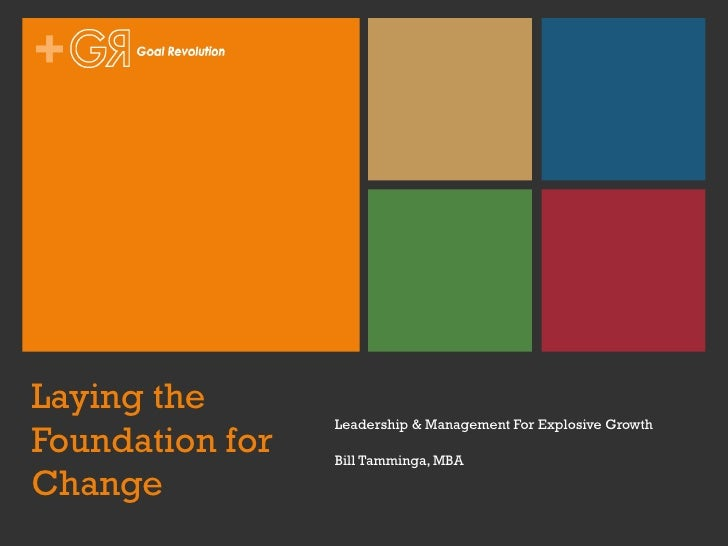 Laying the Foundation for Change Leadership & Management For Explosive Growth Bill Tamminga, MBA
