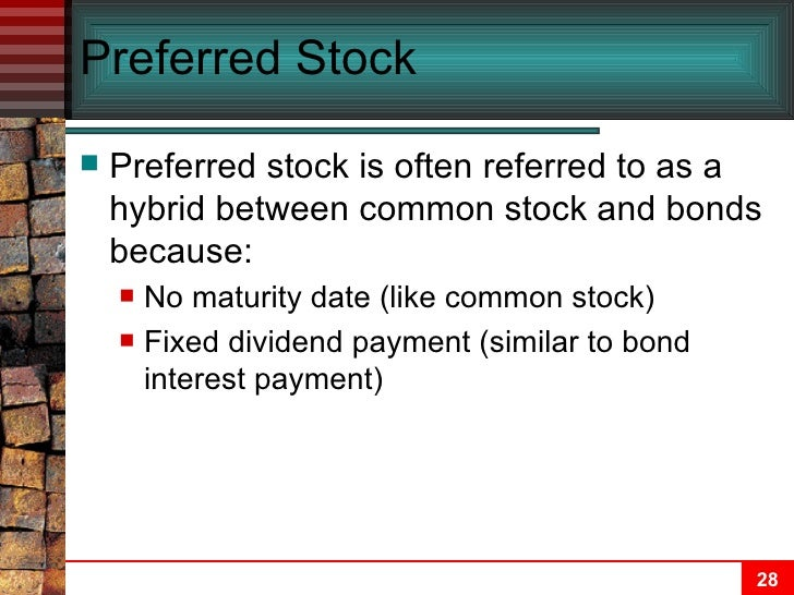 Describe characteristics of fixed income and common stock securities