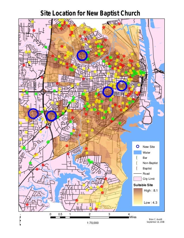 1:70,000 0 1 2 3 40.5 Miles Brian C. Averitt September 16, 2008 É Site Location for New Baptist Church Water !( Bar !( Non...