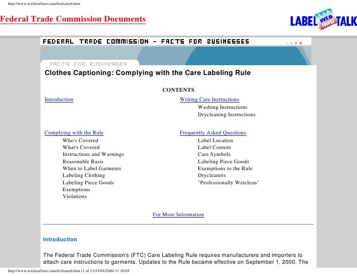 http://www.textileaffairs.com/ftcframe6.htm    Federal Trade Commission Documents                           Clothes Captio...
