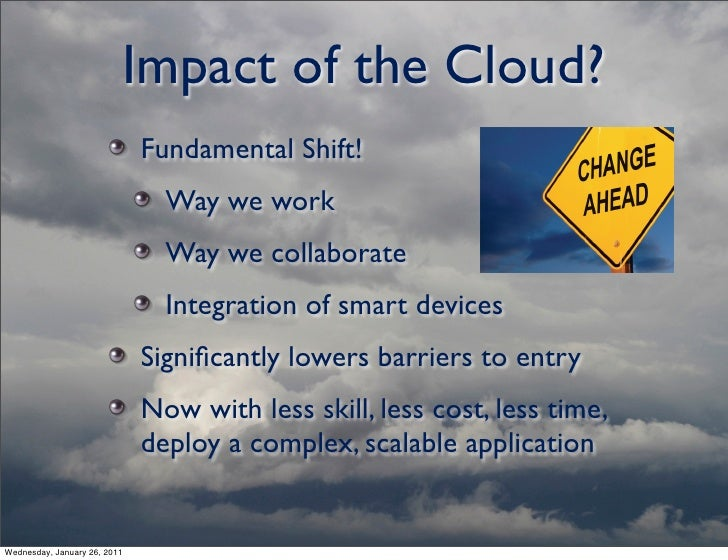 global impact of computing on individuals The impact of cloud computing has barely begun , writes the economist intelligence unit individuals to control their own data is far greater (page 14) that said, there are considerable challenges to be overcome before that happens.
