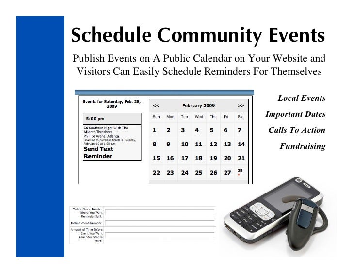 Schedule Community Events Publish Events on A Public Calendar on Your Website and  Visitors Can Easily Schedule Reminders ...