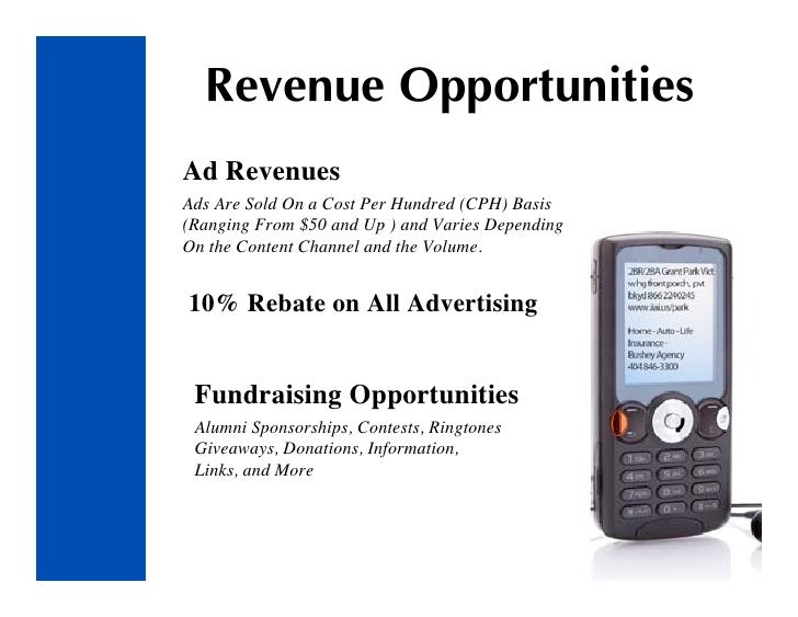 Revenue Opportunities Ad Revenues Ads Are Sold On a Cost Per Hundred (CPH) Basis (Ranging From $50 and Up ) and Varies Dep...