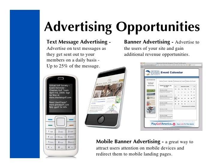 Advertising Opportunities Text Message Advertising -            Banner Advertising - Advertise to Advertise on text messag...
