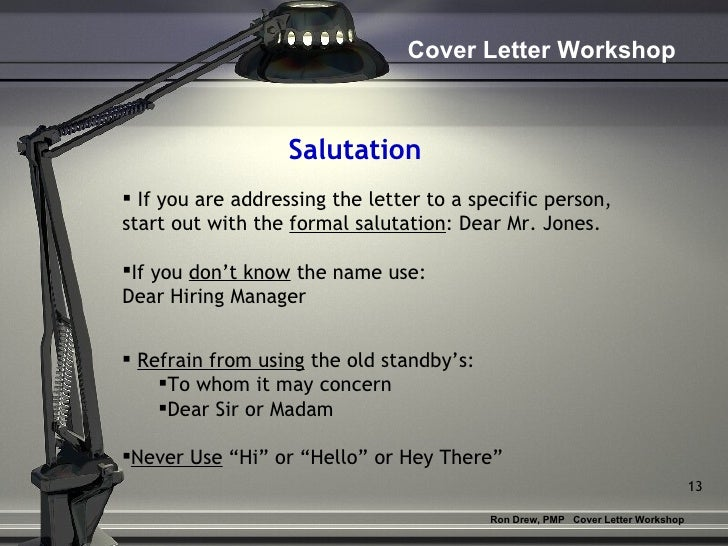 rdrew cover letter workshop