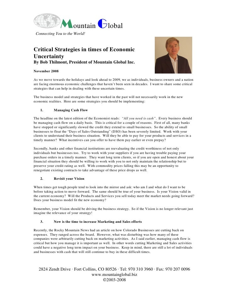 Mountain Global  Connecting You to the World!   Critical Strategies in times of Economic Uncertainty By Bob Thilmont, Pres...