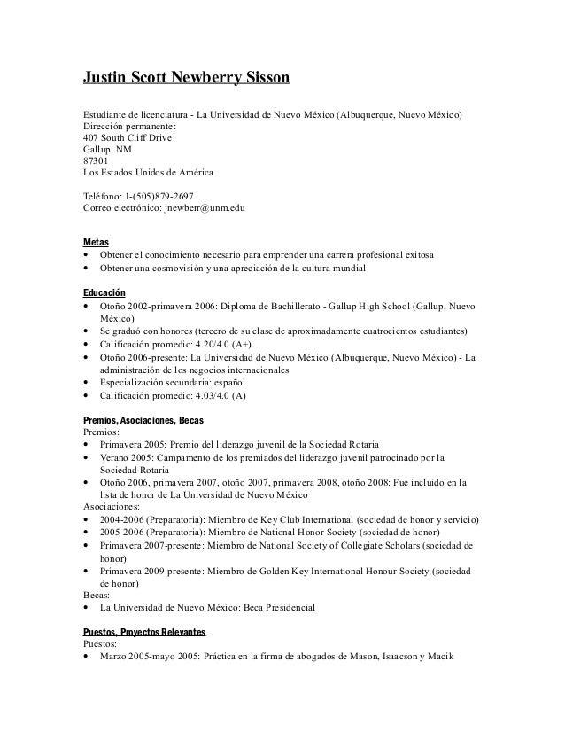 Curriculum vitae espanol justin scott newberry sisson for 5 elements salon albuquerque