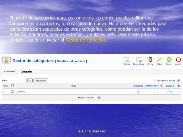 El gestor de categorías para los contactos, es donde puedes editar una  categoría para contactos, o, crear una de nueva. N...