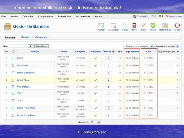 Tenemos la pantalla de Gestor de Baners de Joomla!  Tu Consultora seo