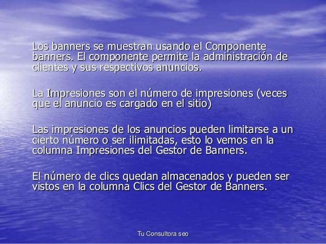 Los banners se muestran usando el Componente  banners. El componente permite la administración de  clientes y sus respecti...