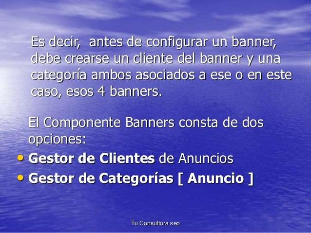 Es decir, antes de configurar un banner,  debe crearse un cliente del banner y una  categoría ambos asociados a ese o en e...