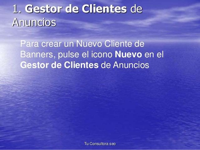 1. Gestor de Clientes de  Anuncios  Para crear un Nuevo Cliente de  Banners, pulse el icono Nuevo en el  Gestor de Cliente...