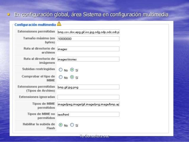 • En configuración global, área Sistema en configuración multimedia  Tu Consultora seo