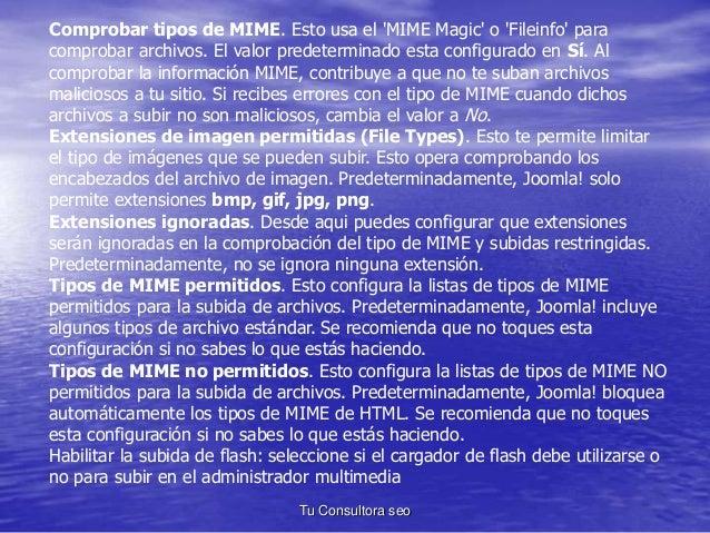 Comprobar tipos de MIME. Esto usa el 'MIME Magic' o 'Fileinfo' para  comprobar archivos. El valor predeterminado esta conf...