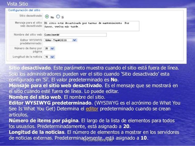 Vista Sitio  Sitio desactivado. Este parámeto muestra cuando el sitio está fuera de línea.  Solo los administradores puede...