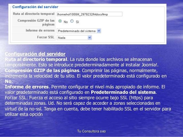 Configuración del servidor  Ruta al directorio temporal. La ruta donde los archivos se almacenan  temporalmente. Esto se i...