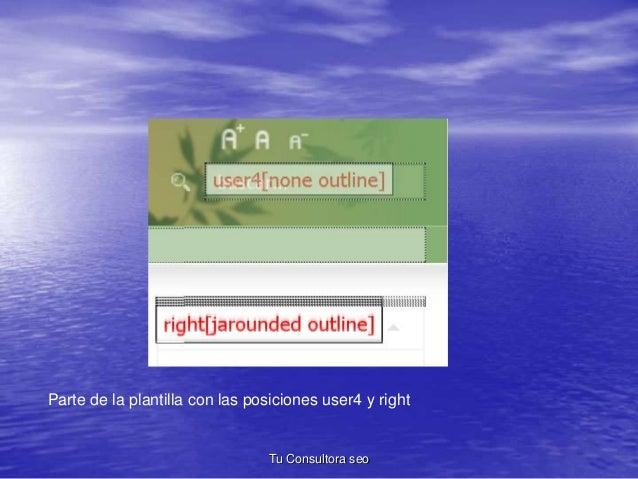Parte de la plantilla con las posiciones user4 y right  Tu Consultora seo