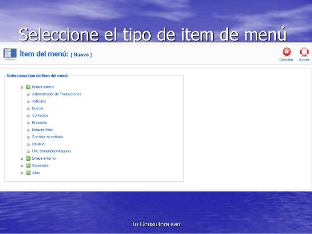 Seleccione el tipo de item de menú  Para conseguir un enlace a  una sección, en esta versión  1.5 debes hacer clic sobre l...