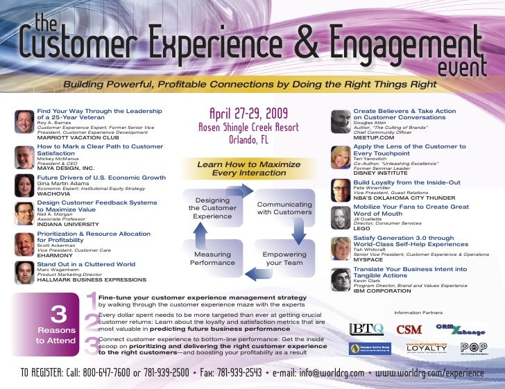 the Customer experience & engagement                              event               Building Powerful, Profitable Connec...