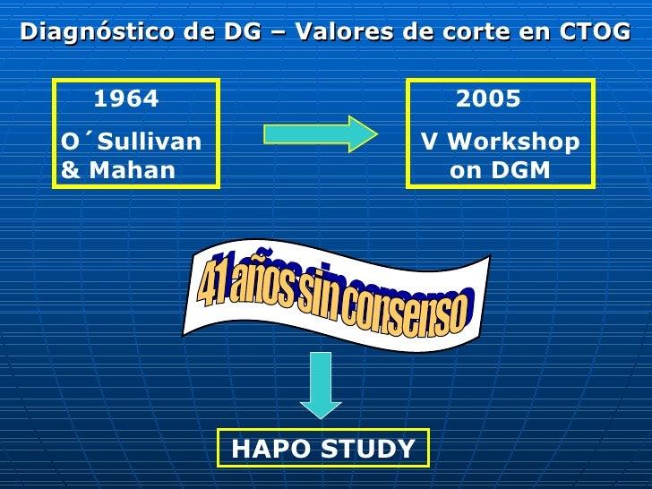 Diagnóstico de DG – Valores de corte en CTOG 1964 O´Sullivan & Mahan 2005 V Workshop on DGM 41 años sin consenso HAPO STUDY