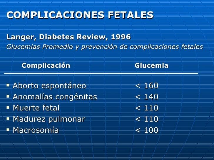 <ul><li>COMPLICACIONES FETALES </li></ul><ul><li>Langer, Diabetes Review, 1996 </li></ul><ul><li>Glucemias Promedio y prev...