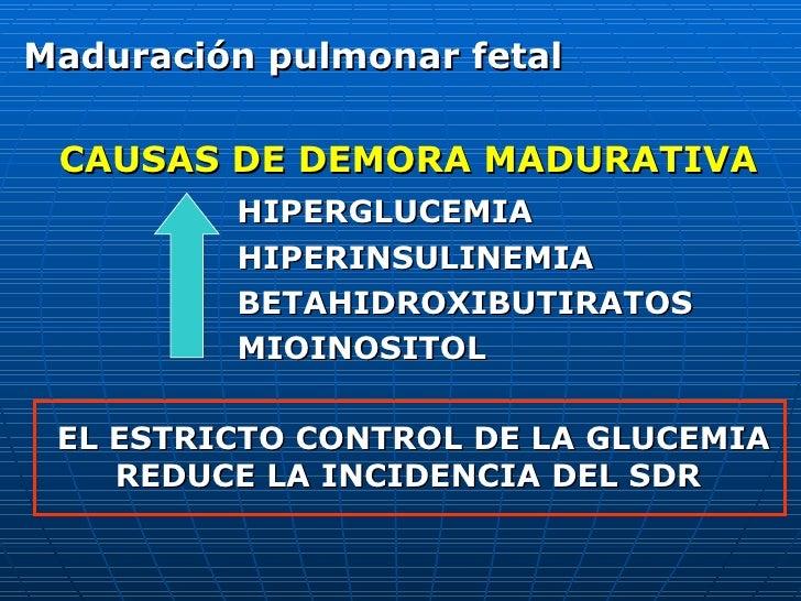 Maduración pulmonar fetal CAUSAS DE DEMORA MADURATIVA HIPERGLUCEMIA HIPERINSULINEMIA BETAHIDROXIBUTIRATOS MIOINOSITOL EL E...