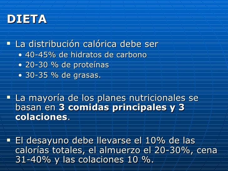 <ul><li>DIETA </li></ul><ul><li>La distribución calórica debe ser  </li></ul><ul><ul><li>40-45% de hidratos de carbono  </...