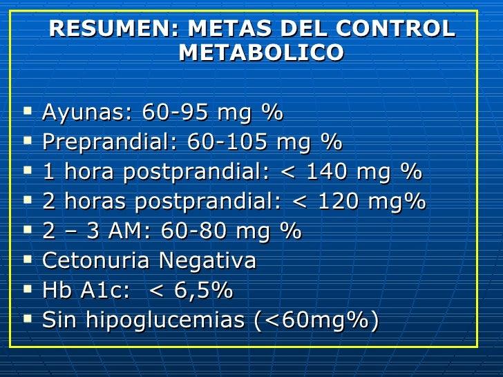 <ul><li>RESUMEN: METAS DEL CONTROL METABOLICO </li></ul><ul><li>Ayunas: 60-95 mg % </li></ul><ul><li>Preprandial: 60-105 m...