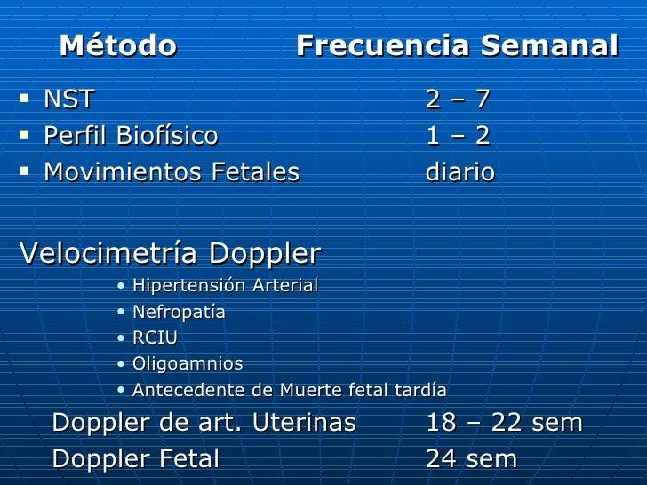 <ul><li>Método  Frecuencia Semanal </li></ul><ul><li>NST 2 – 7 </li></ul><ul><li>Perfil Biofísico 1 – 2 </li></ul><ul><li>...