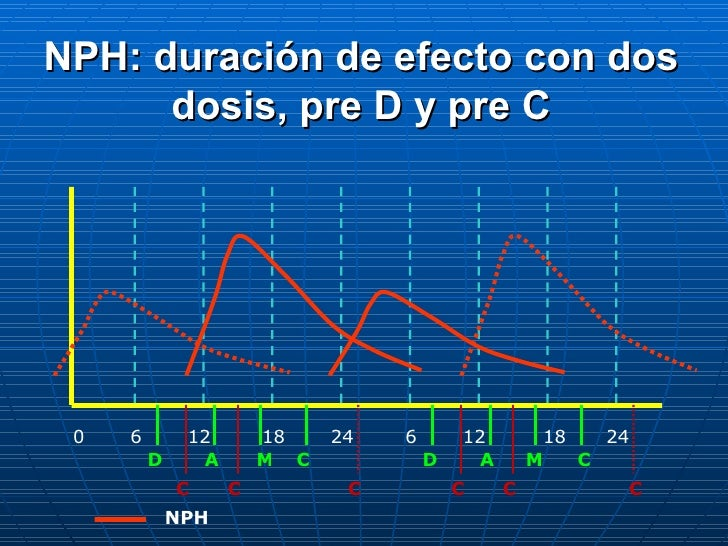 0 6 12 18 24 6 12 18 24 D A C M D A M C C C C C C C NPH NPH: duración de efecto con dos dosis, pre D y pre C