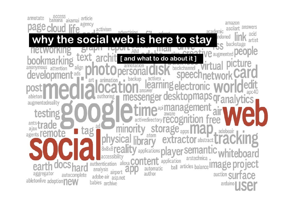 why the social web is here to stay                 [ and what to do about it ]